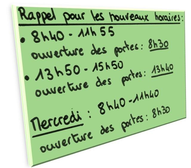 Affiche horaires Clos Renault